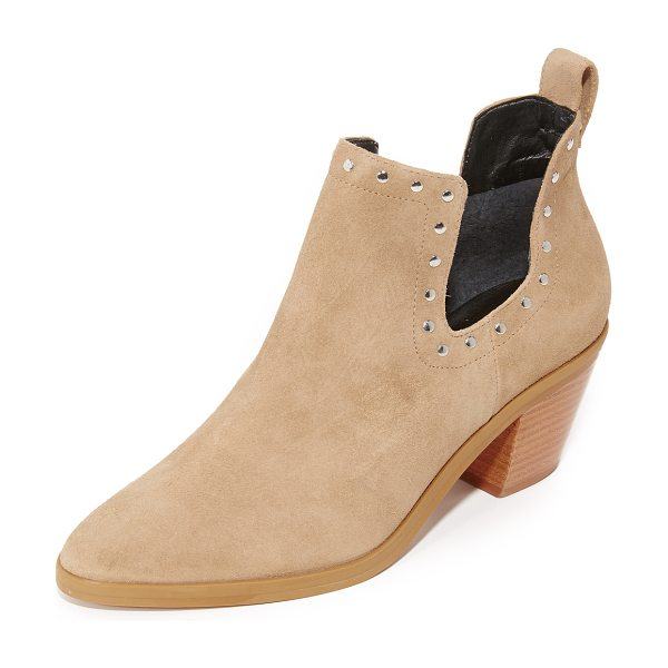 Rebecca Minkoff lana booties in taupe - Polished studs trim the cutout shaft on these suede...