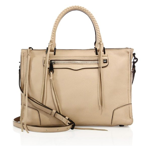 Rebecca Minkoff regan nubuck leather satchel in nude - Leather satchel with whipstitched handles and tassel...