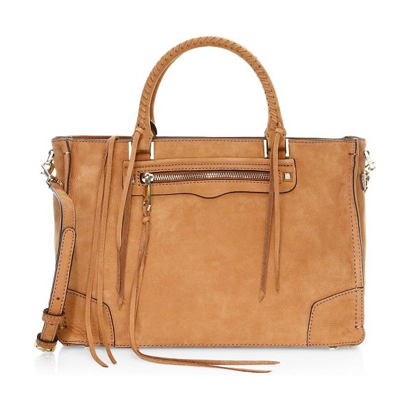 Rebecca Minkoff regan pebbled leather satchel tote in almond - This sleek leather satchel flaunts boho fringes and...