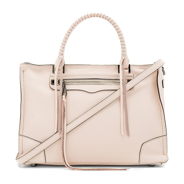 Rebecca Minkoff Regan Satchel in blush - Leather exterior with jacquard fabric lining. Zip top...