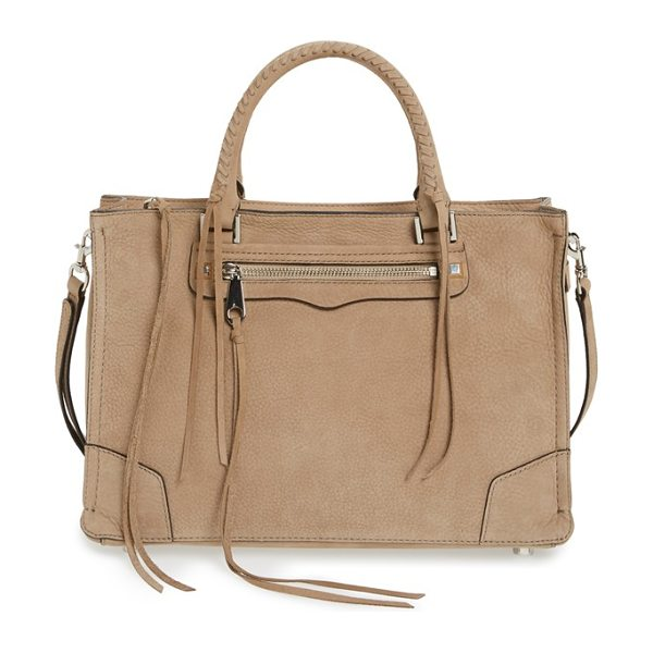 Rebecca Minkoff Regan satchel in sandstone/ silver hrdwr - The Regan satchel goes extra-luxe in supersoft nubuck...