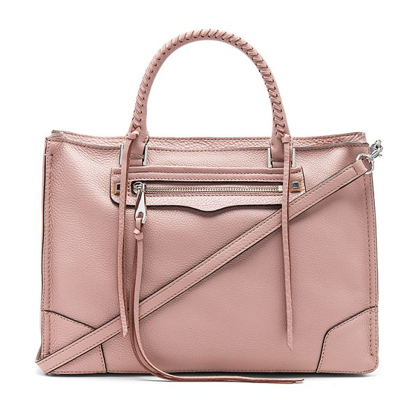 "Rebecca Minkoff Regan Satchel in pink - ""Leather exterior with jacquard fabric lining. Zip top..."