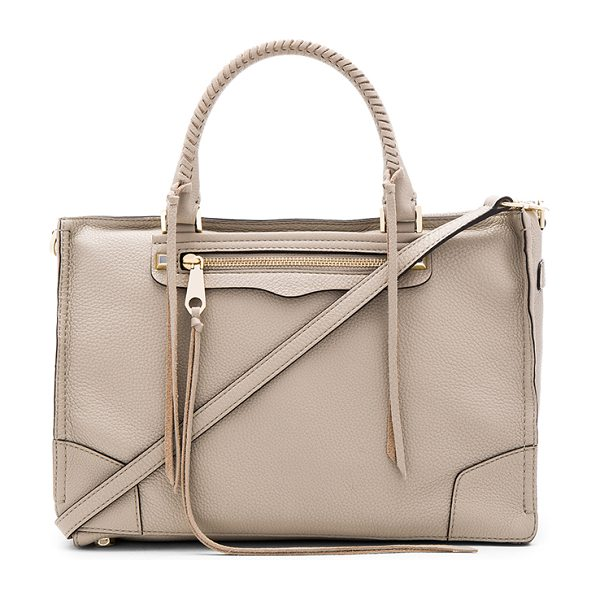 REBECCA MINKOFF Regan satchel bag in taupe - Leather exterior with jacquard fabric lining. Zip top...