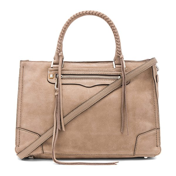 "Rebecca Minkoff Regan Satchel Tote in tan - ""Suede exterior with jacquard fabric lining. Zip top..."