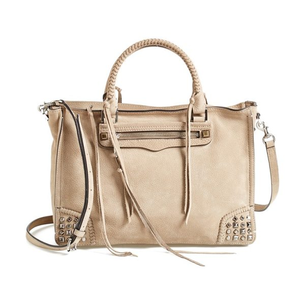 Rebecca Minkoff Regan satchel in sandstone - Mixed studs and dangling tassels underscore the...