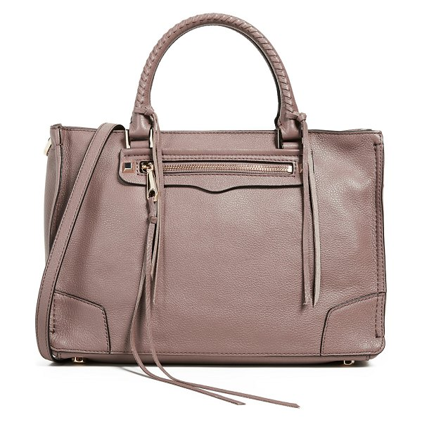 Rebecca Minkoff regan zip satchel tote in mink - Leather: Cowhide Gold-tone feet and hardware Zip closure...