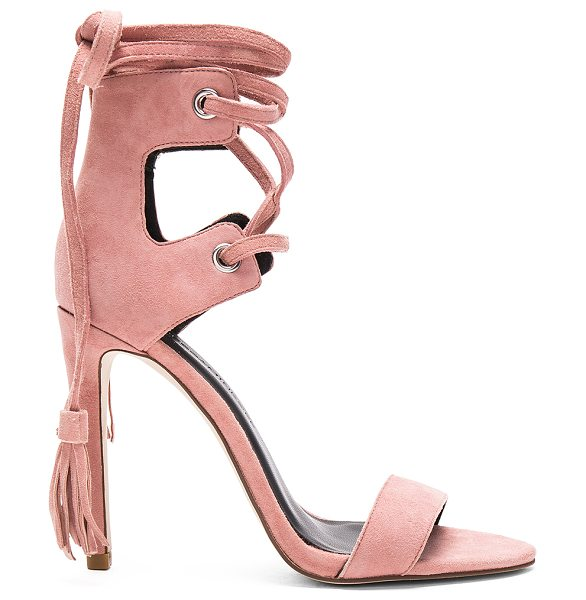 Rebecca Minkoff Riley Heel in rose - Suede upper with man made sole. Lace-up front with...