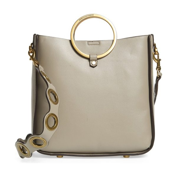 Rebecca Minkoff ring leather feed bag in taupe - Metallic ring handles enhance the contemporary...