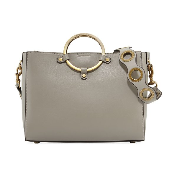 Rebecca Minkoff Ring Leather Satchel Bag in taupe - Rebecca Minkoff smooth leather satchel bag with muted...
