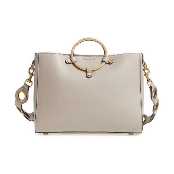 Rebecca Minkoff ring leather satchel in taupe - Oversized, grommet-inspired hardware punctuating the...
