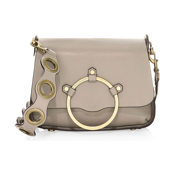 Rebecca Minkoff ring leather shoulder bag in taupe - Smooth leather shoulder bag off-set with a goldtone bar...