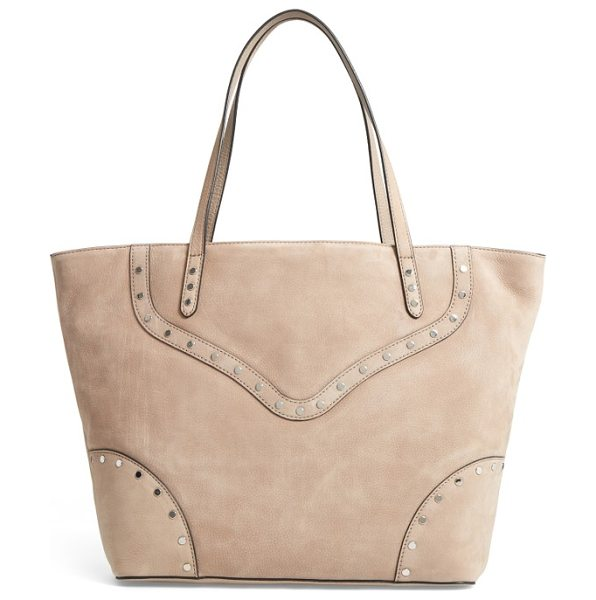 Rebecca Minkoff rose nubuck tote in sandstone - Polished disc studs add biker-chic edge to a lush nubuck...