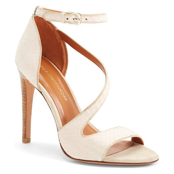 Rebecca Minkoff roxanne genuine snakeskin sandal in blush - A genuine snakeskin sandal flatters the contours of the...