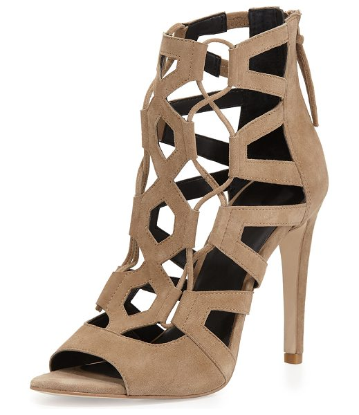 "Rebecca Minkoff Roxie Caged Suede Sandal in taupe - Rebecca Minkoff kid suede sandal. 4.3"" covered heel...."