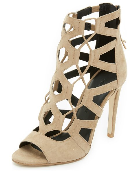 Rebecca Minkoff Roxie lace up sandals in taupe - Lace up detailing and geometric cutouts detail these...