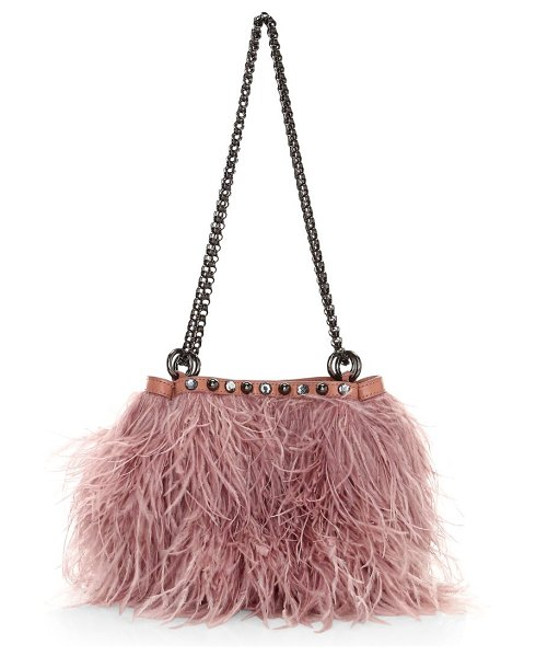 Rebecca Minkoff ruby ostrich feather shoulder bag in desert rose