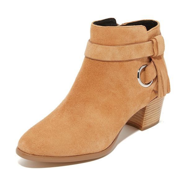 Rebecca Minkoff Rebecca Minkoff Selena Booties in butterscotch - A polished grommet and tasseled strap accents the faux...
