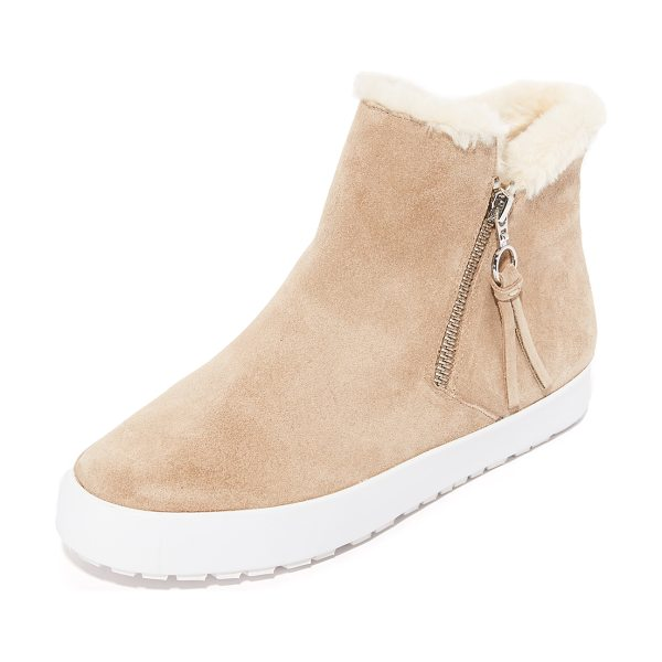 Rebecca Minkoff shelly sherpa booties in taupe - A contrast platform lends sneaker styling to these suede...