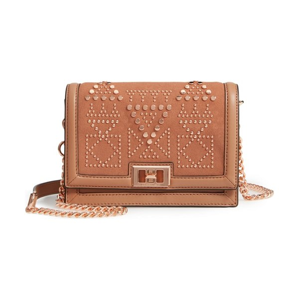 Rebecca Minkoff small dylan studded leather crossbody bag in desert tan - Polished studs highlight the plush suede on a compact...