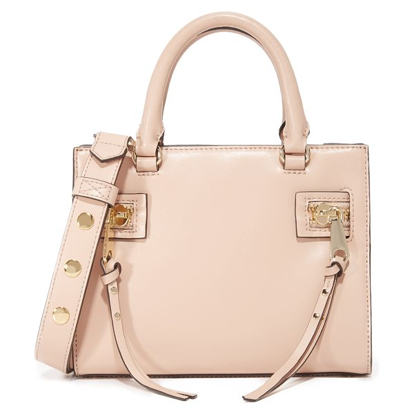 REBECCA MINKOFF Small geneva satchel in nude - Decorative zips with long pulls detail the sides of this...