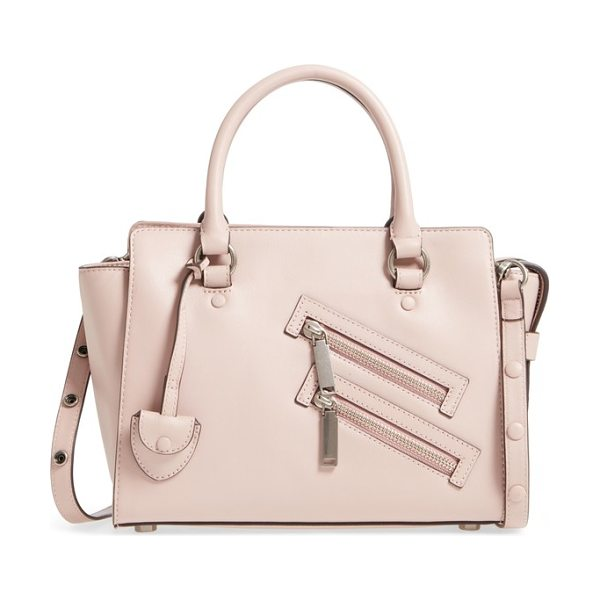Rebecca Minkoff small jamie leather satchel in vintage pink - This commute-friendly satchel features angled double zip...