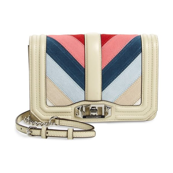 Rebecca Minkoff small love chevron patchwork crossbody bag in pink multi - Chevron stripes bring eye-catching appeal to a...