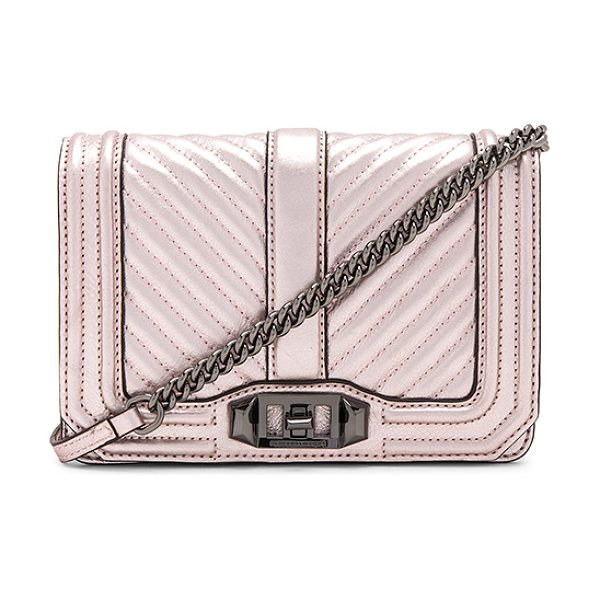 Rebecca Minkoff Small Love Crossbody in metallic lilac - Metallic leather exterior with jacquard fabric lining....