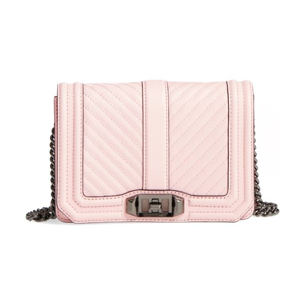 REBECCA MINKOFF small love leather crossbody bag in soft blush/ gunmetal - Going out? Then go with this. With channel quilting and...