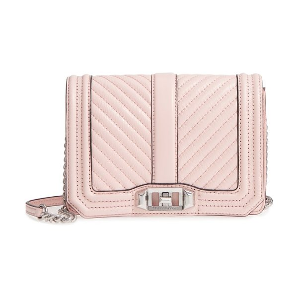 Rebecca Minkoff small love leather crossbody bag in pink - With channel quilting and polished hardware, this...