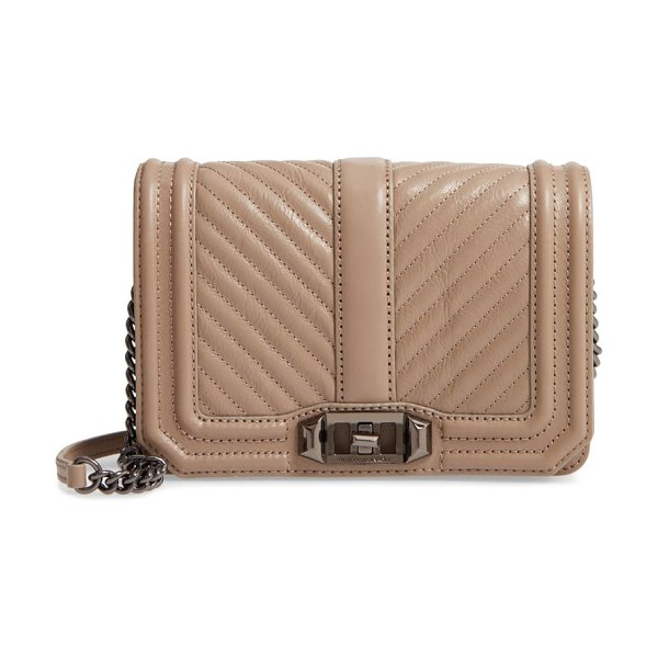 Rebecca Minkoff small love quilted leather crossbody bag in beige