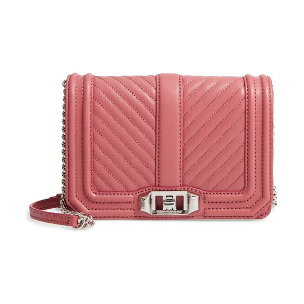 Rebecca Minkoff small love quilted leather crossbody bag in pink