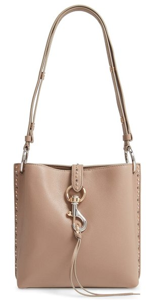 Rebecca Minkoff small megan leather shoulder feed bag in beige