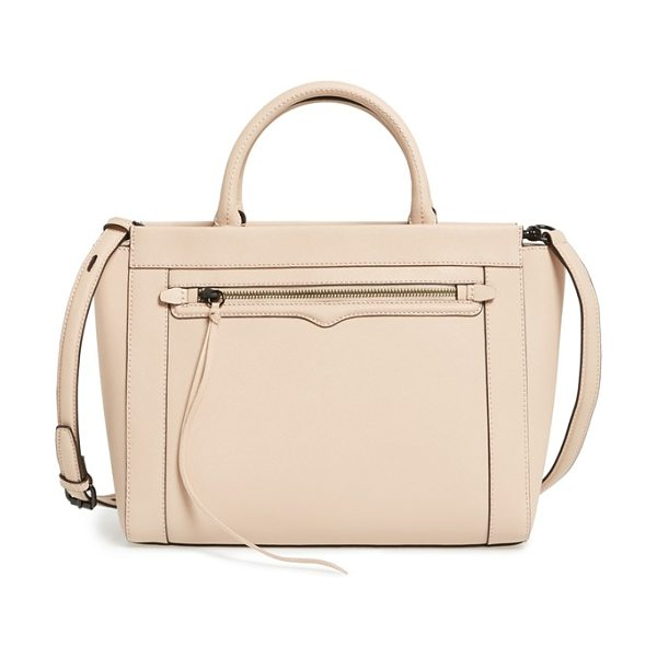 Rebecca Minkoff Small monroe tote in latte - A signature curved flap accentuates the zipper pocket of...