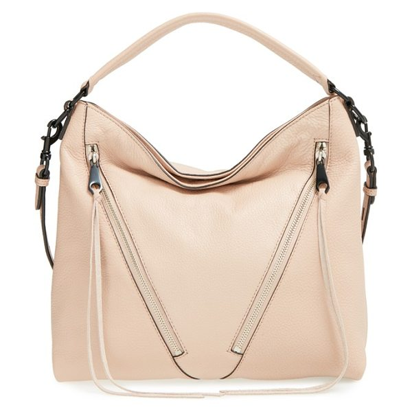 REBECCA MINKOFF Small moto hobo in latte - Angled front zip pockets with signature long, trailing...