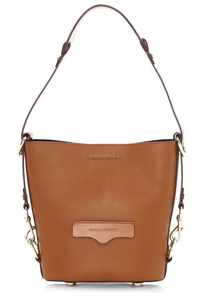 Rebecca Minkoff small utility convertible leather bucket bag in tan