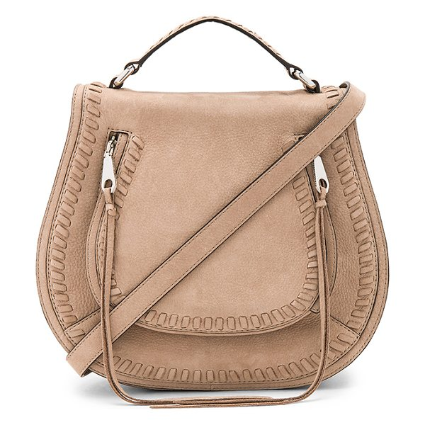 Rebecca Minkoff Small Vanity Saddle Bag in sandstone - Suede exterior with jacquard fabric lining. Flap top...