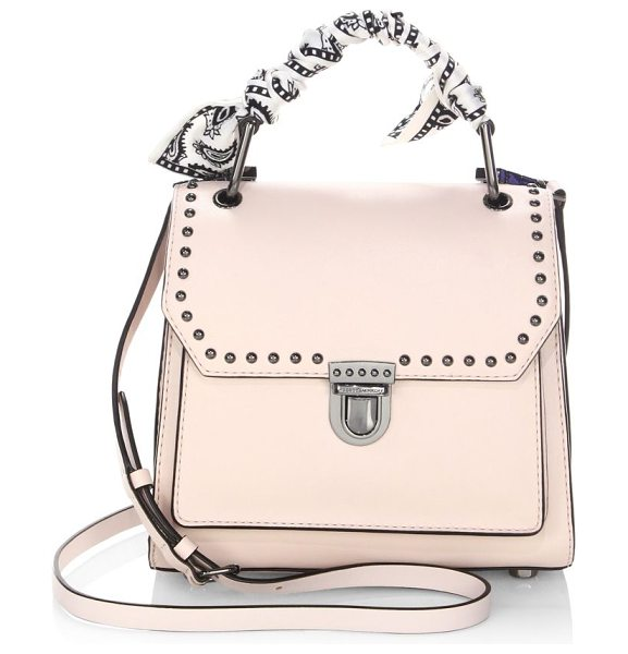 Rebecca Minkoff st tropez small leather satchel in nude - Leather satchel adorned with a scarf-wrapped handle. Top...