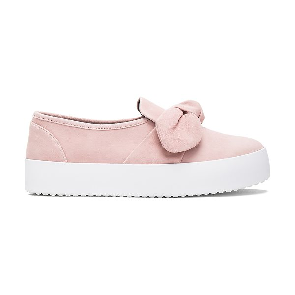 Rebecca Minkoff Stacey Slip On in blush - Suede upper with rubber sole. Slip-on styling. Front bow...