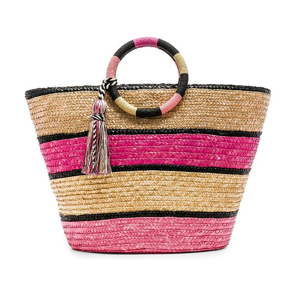 "Rebecca Minkoff Straw Tote in pink - ""Straw exterior with canvas fabric lining. Interior..."