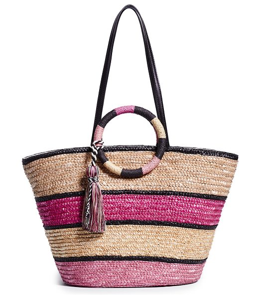 Rebecca Minkoff straw tote in pink multi - Fabric: Straw Yarn tassel Round handles Stripe pattern...