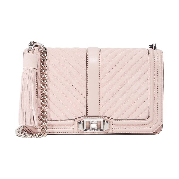 Rebecca Minkoff Suede love cross body bag in vintage pink - Tonal suede updates this quilted Rebecca Minkoff cross...