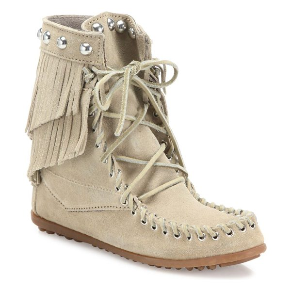 Rebecca Minkoff tramper double fringe suede booties in stone - Boho-spirited fringed suede bootie with studded cuff....