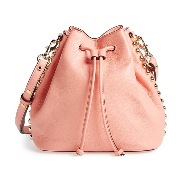 Rebecca Minkoff Unlined bucket bag in apricot/ light gold - Goldtone studs trace the chic, slouchy profile of a...