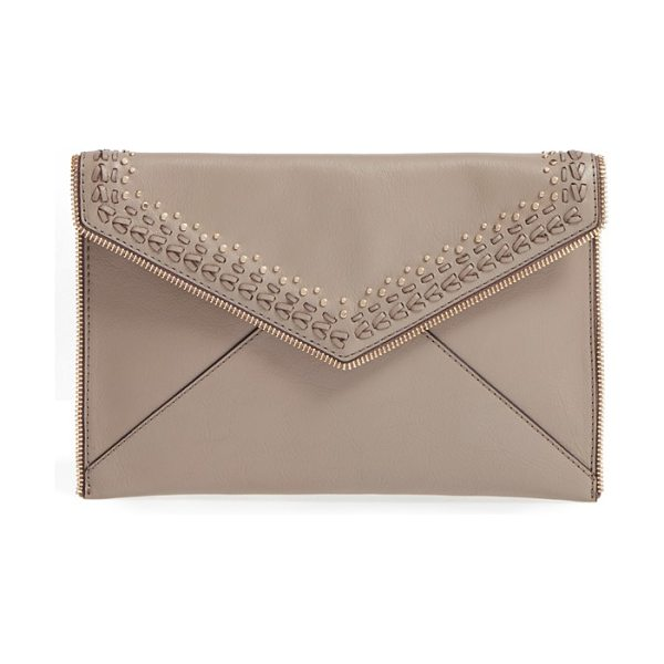 REBECCA MINKOFF 'whipstitch leo' leather clutch - Edgy zip teeth outline a slim envelope clutch...