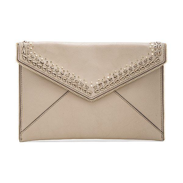 Rebecca Minkoff Whipstitch Leo Clutch in taupe - Leather exterior with jacquard fabric lining. Flap top...