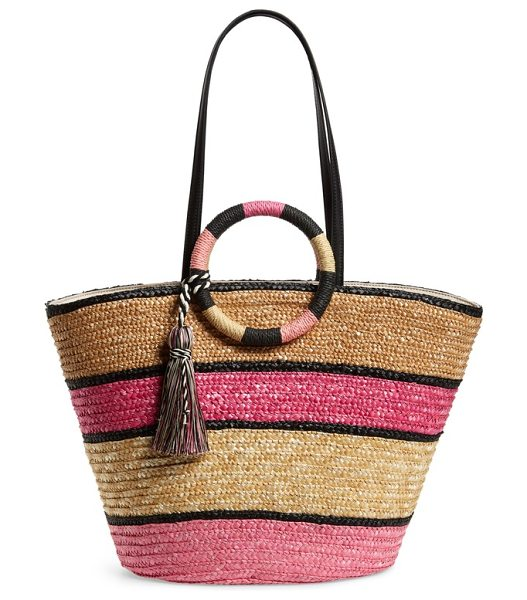 Rebecca Minkoff woven straw tote in pink multi - Color-blocked stripes and a swingy tassel add...