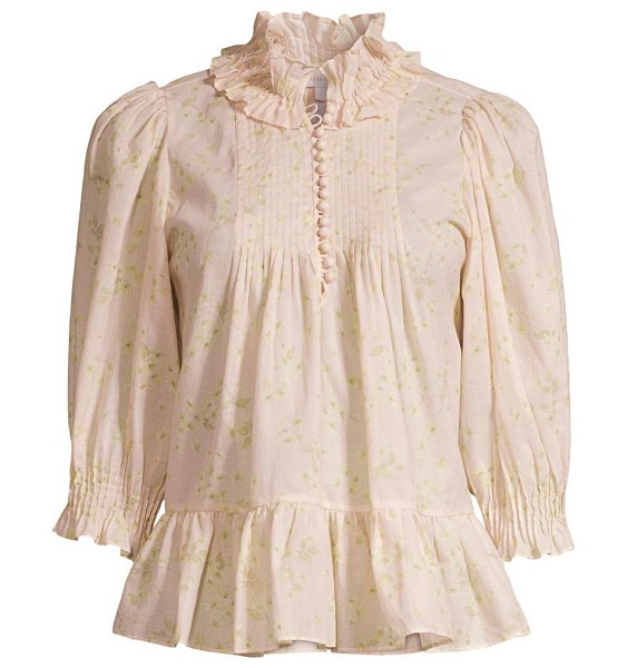 Rebecca Taylor adela floral cotton blouse in pink combo