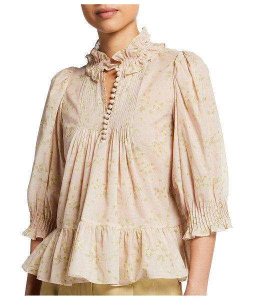 Rebecca Taylor Adela Voile Floral-Print Ruffle Blouse in pink combo