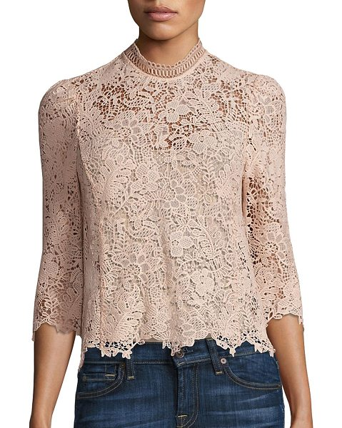 Rebecca Taylor arella floral lace mock top in ballet - Enchanting top tailored from floral lace fabric....