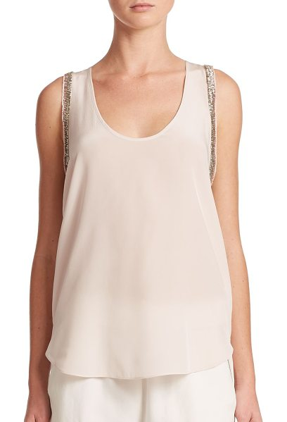 Rebecca Taylor Bugle bead silk tank top in pink - Shimmering metallic-toned bugle beads trim this stunning...